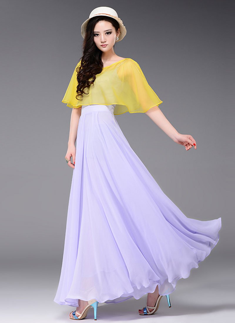 Thistle Maxi Dress with Contrast Yellow Cloak Top RM437