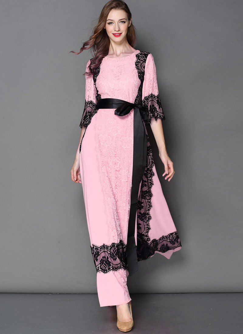 Pink Lace Chiffon Maxi Dress with Black Eyelash Lace Details RM445