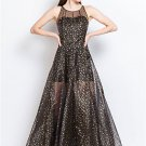 Black Tulle Maxi Dress with Golden Star Flocking RM447