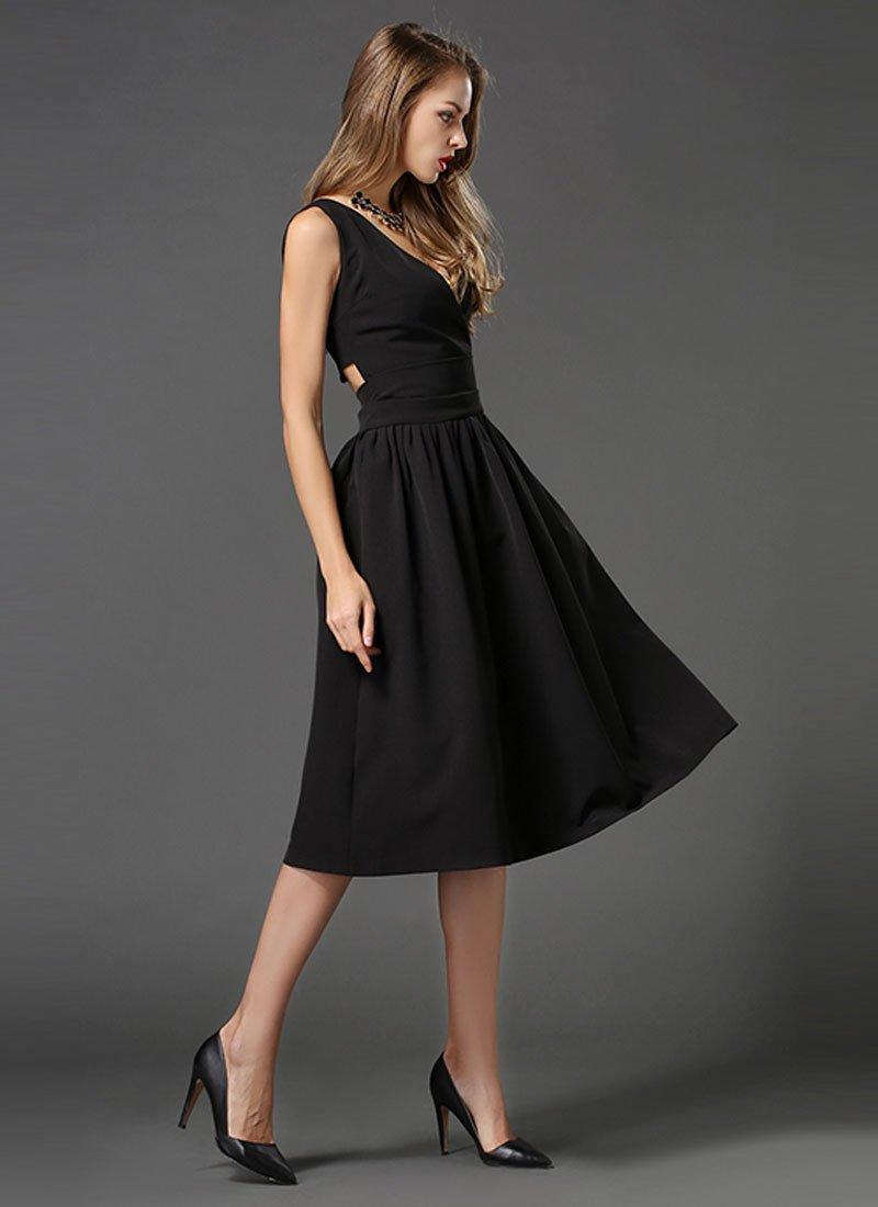 V Neck Black Midi Dress with Cut Back RM449