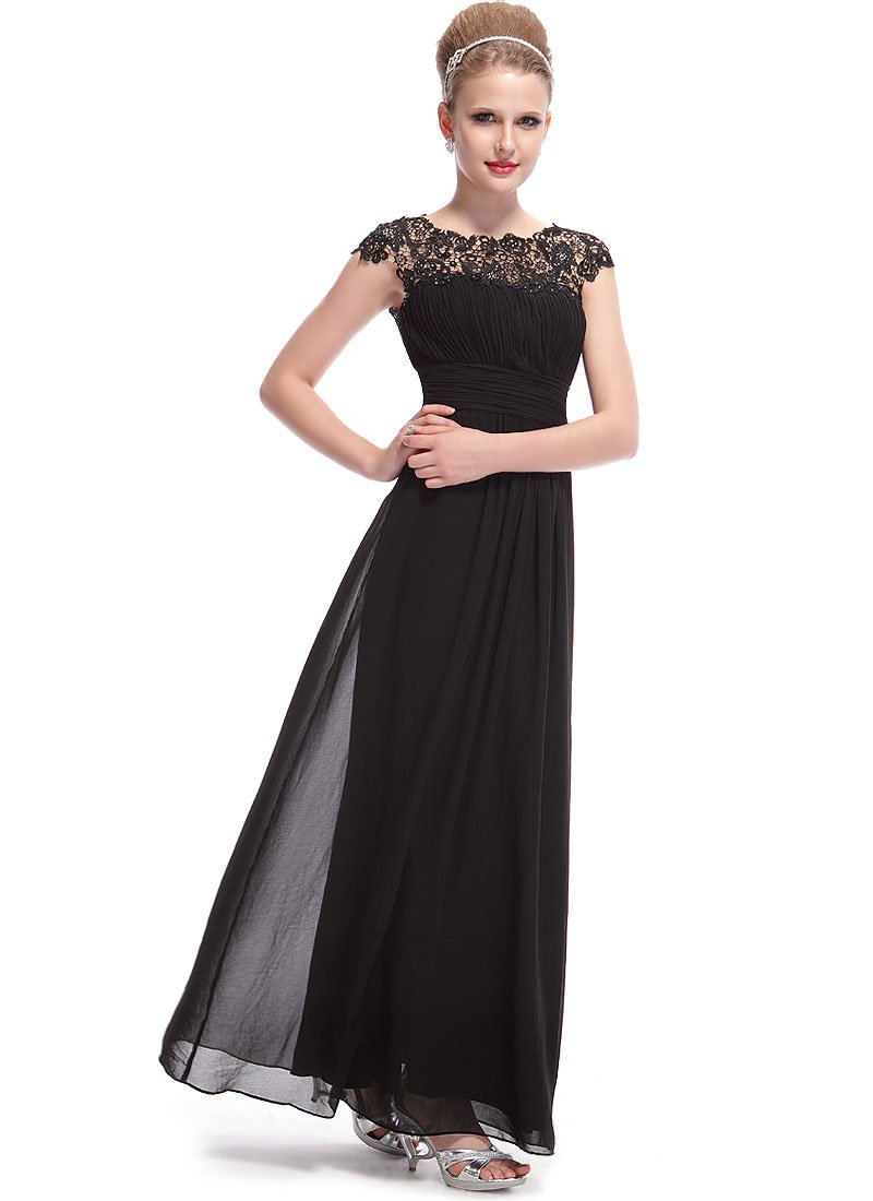Embellished Open Back Black Lace Chiffon Evening Gown RM450