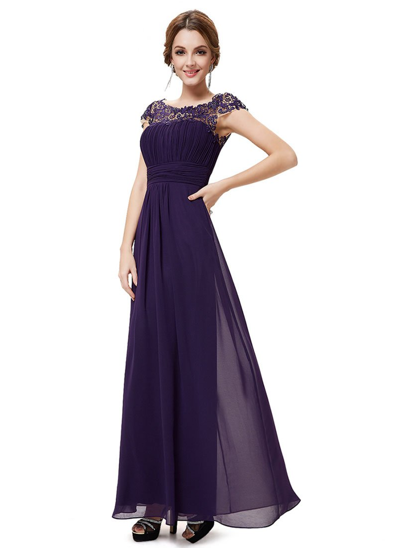 Embellished Open Back Dark Purple Lace Chiffon Evening Gown RM450