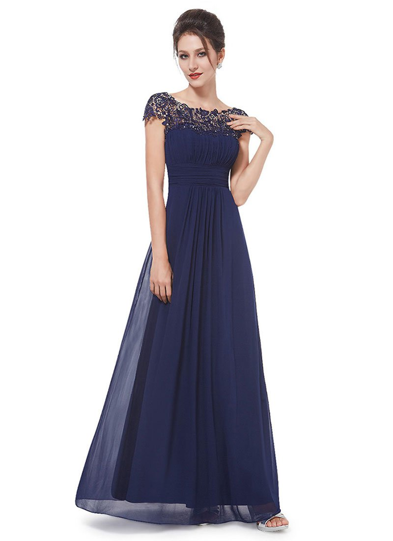 Embellished Open Back Navy Lace Chiffon Evening Gown RM450
