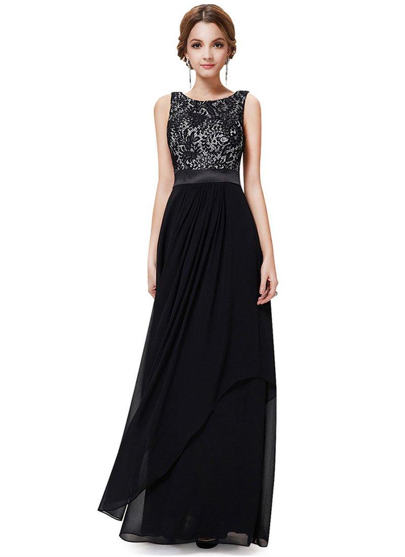 V Back Black Lace Chiffon Evening Dress with Satin Waist Yoke RM451