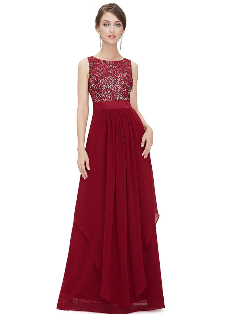 V Back Maroon Lace Chiffon Evening Dress with Satin Waist Yoke RM451