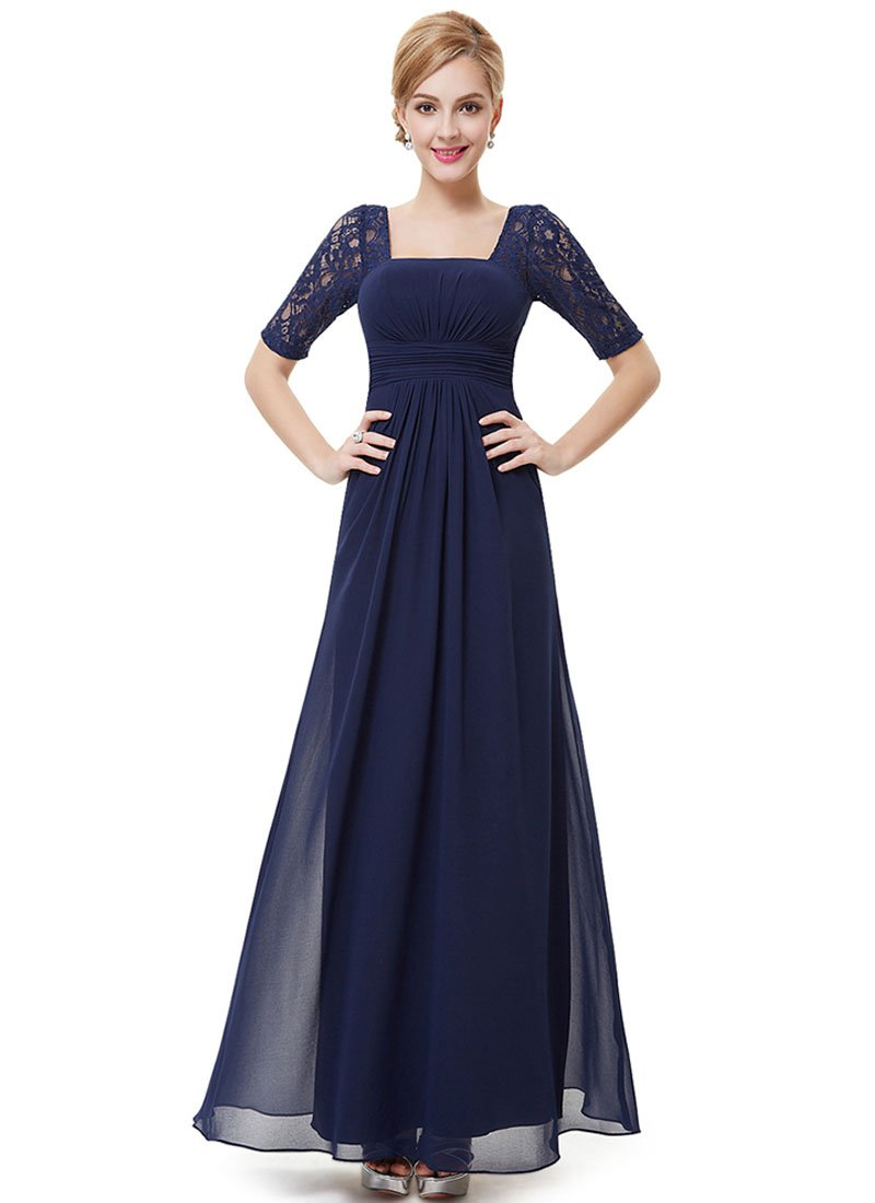 Empire Waisted Navy Lace Chiffon Maxi Dress with Open Back RM452