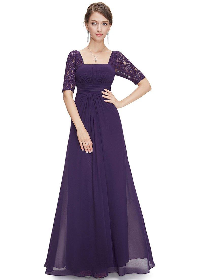 Empire Waisted Purple Lace Chiffon Maxi Dress with Open Back RM452