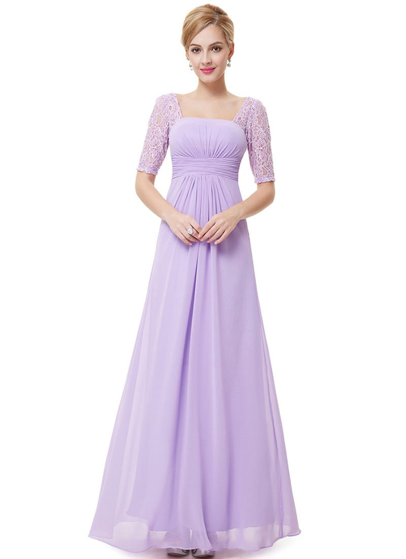 Empire Waisted Thistle Lace Chiffon Maxi Dress with Open Back RM452