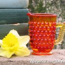 Vintage Hobnail Miniature Mini Pitcher or Creamer, Red Amber, Child&#39;s Size