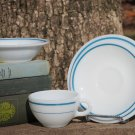 Fire King Anchor Hocking Blue Teal Band Four Pieces Salad Plate Cup Bowl Saucer