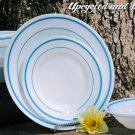 Fire King Anchor Hocking Blue Teal Band Stripes Place Setting DInner Plate Salad Bowl Saucer Cup