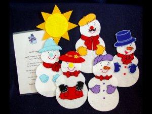 Five Little Snowmen 6 pc Flannel Felt Story + rhyme