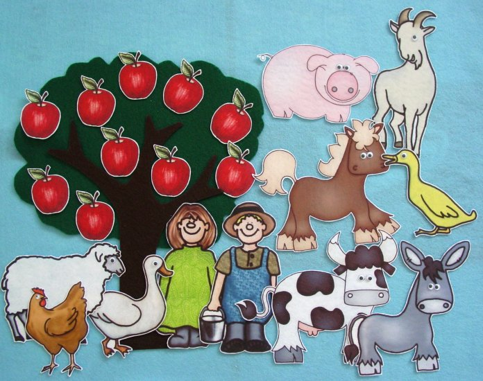 Ten Red Apples 23-pc Flannel Felt Set