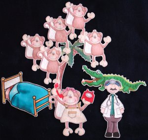 2 in 1 Five Little Monkeys 10-pc Flannel Board Felt Story