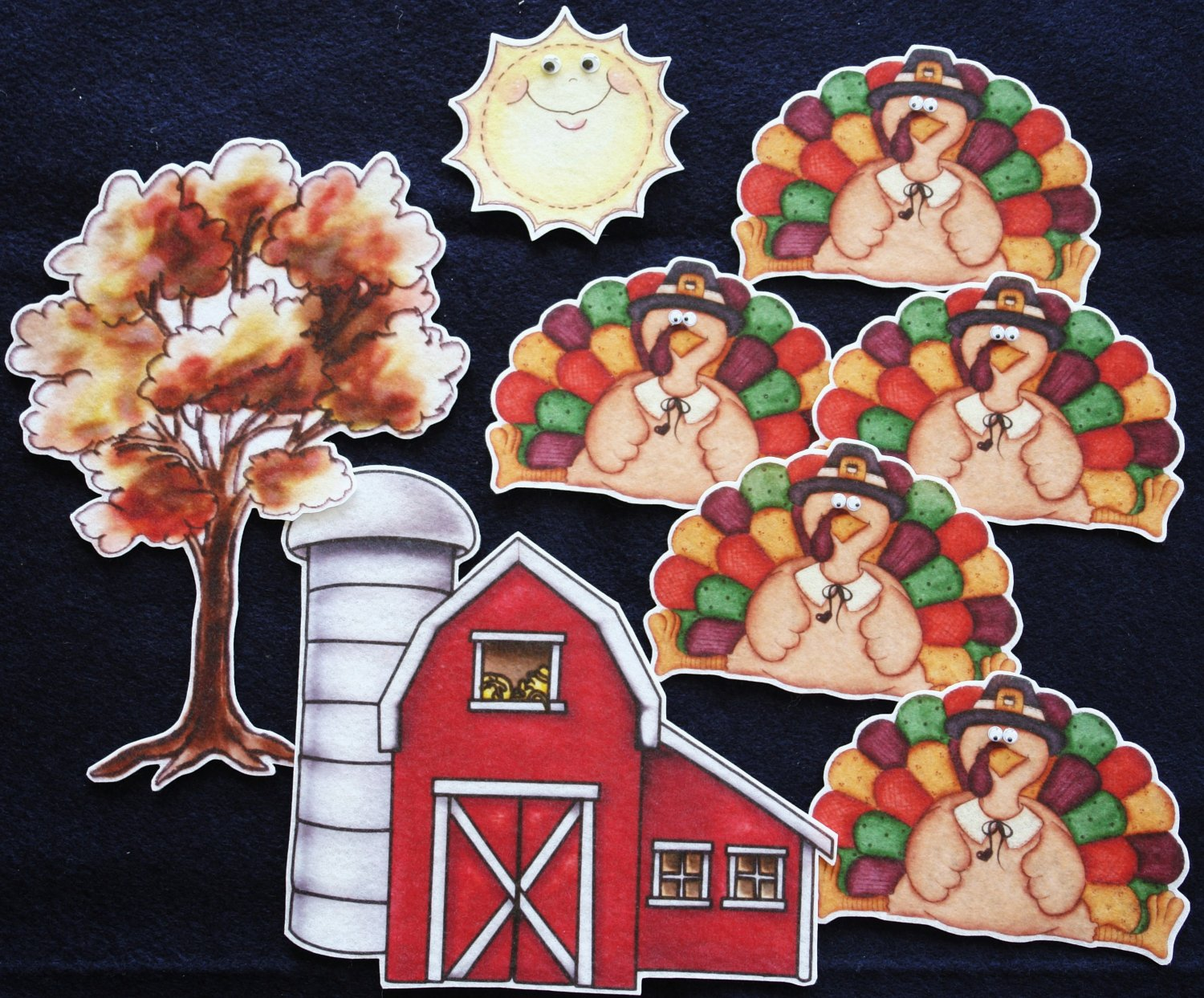 Five Little Turkeys 8-pc Flannel Felt Story