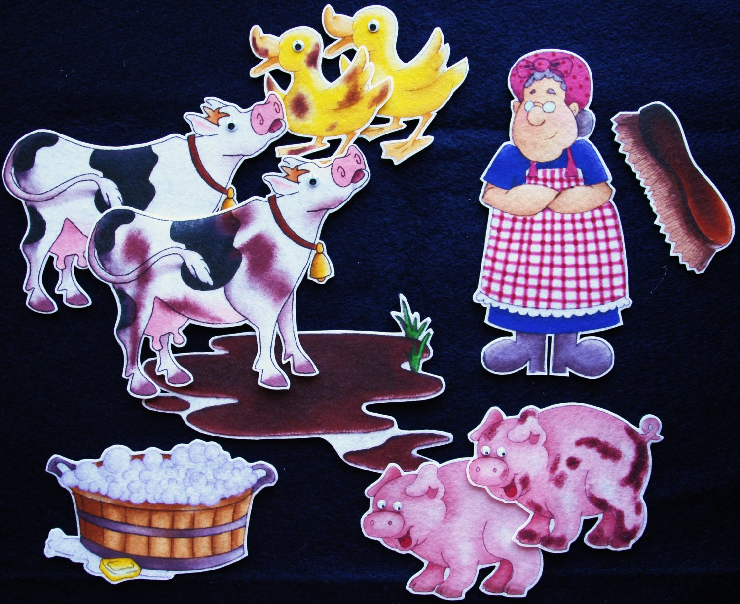 Mrs. Wishy-Washy 10-pc Flannel Board Felt Story