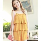Strap Off-Shoulder Dotted Casual Yellow Pleated Twin Short