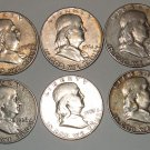 FRANKLIN HALF DOLLAR 10 coins for sale from 1952 to 1963