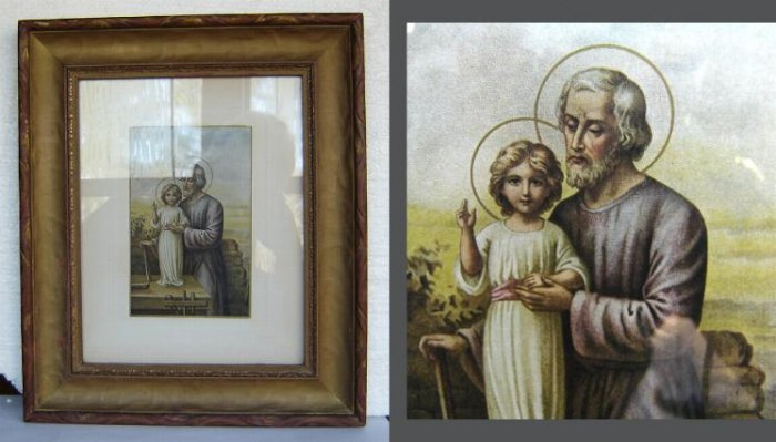 SALE - Antique - Lithograph - St Joseph  - ORIGINAL