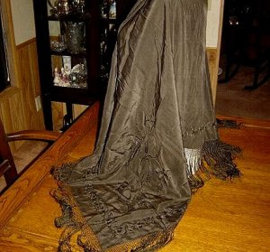 SUPERB - Victorian Silk Embroidered Mourning Shawl