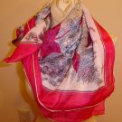 Lovey 1950's Silk Scarf - Red and Fuschia -LARGE