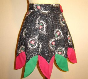 Fabulous 1950's Black with Pink Vintage Apron
