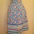 1940's Blue Floral Vintage Apron - Great Design