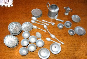 Antique Pewter Doll Dishes - Doll house-Large Lot