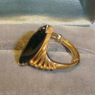 Elegant Estate Ring -Marquise cut Onyx 10 kt Swirling Solid Gold - Size 8-9