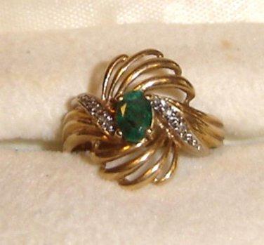 Emerald -Diamond Ring set in solid 10k yellow gold SWIRLS sz 6- 6 1/2