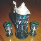 BOHEMIAN GLASS Tankard Pitcher and 2 Glasses - Hand Painted-blown