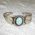 Sterling-Turquoise Feather Cuff Bracelet Native America SIGNED