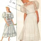 Jessica McClintock Vintage Sewing Pattern Lace Dress Yoke Tucks Puff Sleeve Gunne Sax 8610 Size 12