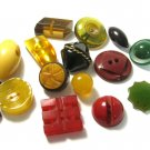 Vintage Bakelite Button Lot 15 Football Round Square Carved Bow Black Green Red Yellow Stacked
