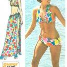 Vintage Sewing Pattern Bikini Swimsuit Sarong Skirt Easy 70s Retro Mod 5644 8-10