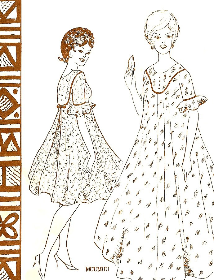 Hawaiian Sewing Pattern MuuMuu Caftan Long Short Dress Vintage Polynesian Full 145 Large Uncut