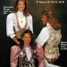 Misses Tuxedo Vest Sewing Pattern Vintage Easy Fitted Lace Trim Tie Back Tapestry Quilted 6-16 152