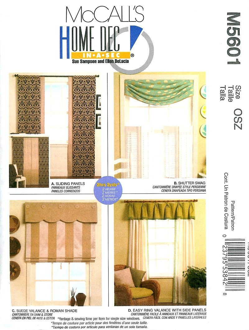 Window treatments sewing pattern ring valance roman shade for Professional window treatment patterns