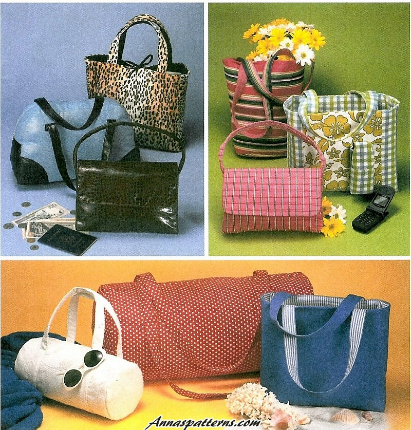 Handbag Totes Sewing Pattern Easy Duffle Barrel Bag Bucket Bowling ...