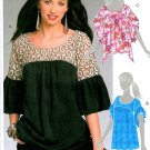 Pullover Top Sewing Pattern Butterfly Sleeve Trendy Hipster Shaped Hem Yoke Easy 5754 6-12