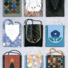 Cross Body Purse Handbag Sewing Pattern Yo Yo Necktie Patchwork Heart Pansy Christmas Tree