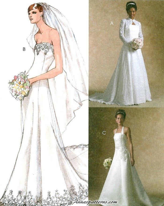Bridal wedding dress sewing pattern shrug gown strapless for Sewing patterns wedding dress