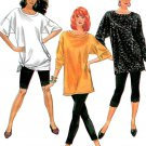Loose Pullover Top Sewing Pattern Leggings Capri Dolman Sleeve Vintage 80s Disco Easy 9597 6-24