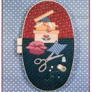 Sewing Box Applique Pattern For Oval Hoop Scissors Thread Thimble Pin Cushion Vintage Country