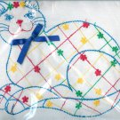 Embroidered Pillow Kit Cat  Lace Red Green Yellow Blue Feline Pet Sewing Project