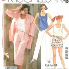 Vintage Sewing Pattern Pull On Pants Capri Shirt Tank Top Shorts Easy 2989 10-14