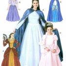 Girls Princess Dress Costume Pattern Renaissance Queen Snow White Halloween Cape Child 6420 3-8