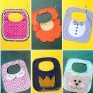 Baby Bib Sewing Pattern Boy Girl Flower Teddy Bear Crown Bow Tie 6 Designs Easy Handcrafted 4533