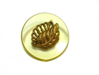 Large Vintage Celluloid Button Apple Juice Yellow Leaf Accent Copper Gold Jacket Coat Crafts Sewing