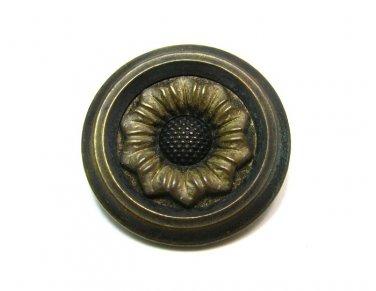 Metal Flower Button Vintage Daisy Sunflower Raised Relief Jacket Coat Sewing Craft Brass Gold 1 Inch